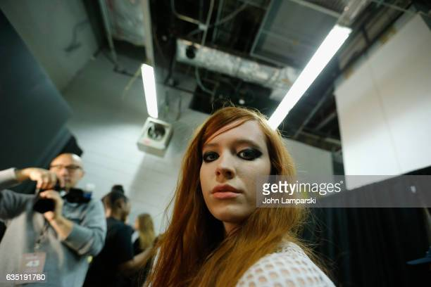 Models prepare backstage at the Libertine fashion show during February 2017 New York Fashion Week The Shows at Gallery 3 Skylight Clarkson Sq on...