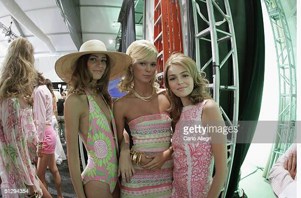 Models prepare backstage at the Lilly Pulitzer Couture Spring 2005 fashion show during the Olympus Fashion Week Spring 2005 at the Plaza in Bryant...