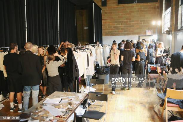 Models prepare backstage at the Linder fashion show during New York Fashion Week on September 8 2017 in New York City