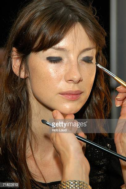 Models prepare backstage at the Marc Bouwer Spring 2007 fashion show during Olympus Fashion Week at the Atelier tent in Bryant Park September 8 2005...