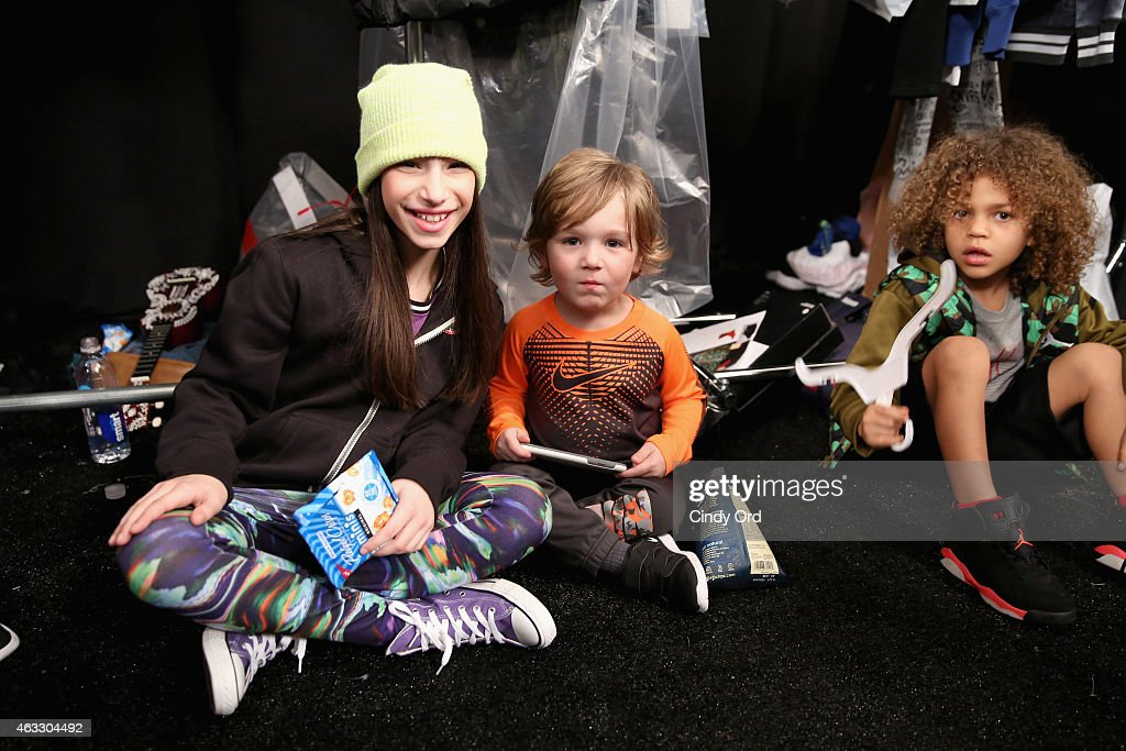 Models prepare backstage at the Nike Levi's Kids fashion show during Mercedes-Benz Fashion Week Fall 2015 at The Salon at Lincoln Center on February 12, 2015 in New York City.