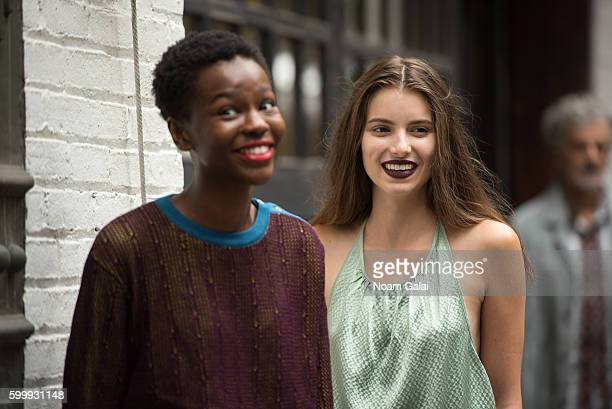 Models prepare backstage at the Rachel Comey fashion show during New York Fashion Week September 2016 on September 7 2016 in New York City