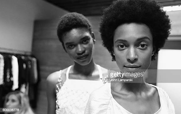Models prepare backstage at the Rachel Comey presentation during New York Fashion Week on September 7 2016 in New York City