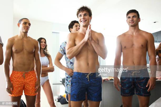 Models prepare backstage at Thorsun Men's and Women's Spring/Summer 2018 presentation on July 12 2017 in New York City