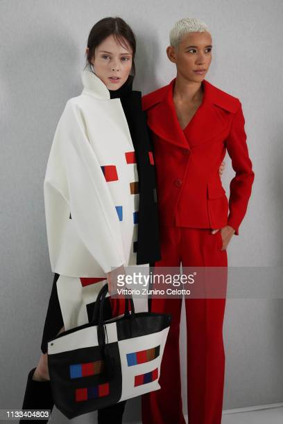 Models prepare backstage before the Akris show as part of the Paris Fashion Week Womenswear Fall/Winter 2019/2020 on March 03 2019 in Paris France