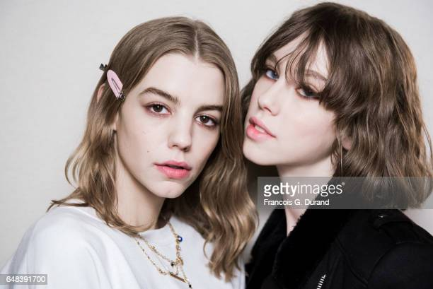 Models prepare backstage before the Akris show as part of the Paris Fashion Week Womenswear Fall/Winter 2017/2018 on March 5 2017 in Paris France