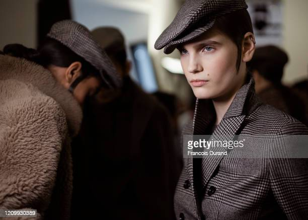 Models prepare backstage before the Akris Womenswear Fall/Winter 2020/2021 show as part of Paris Fashion Week on March 02, 2020 in Paris, France.