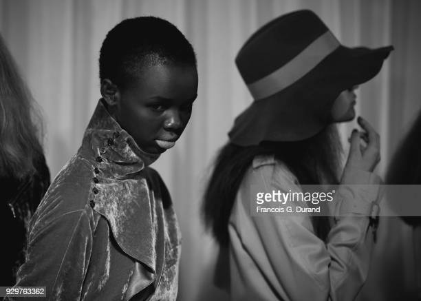Models prepare backstage before the Beautiful People show as part of the Paris Fashion Week Womenswear Fall/Winter 2018/2019 on March 6 2018 in Paris...