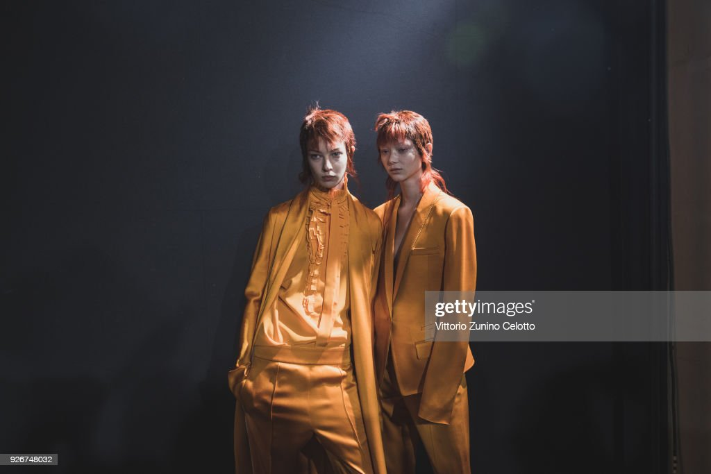 Models prepare backstage before the Haider Ackermann show as part of the Paris Fashion Week Womenswear Fall/Winter 2018/2019 on March 3, 2018 in Paris, France.