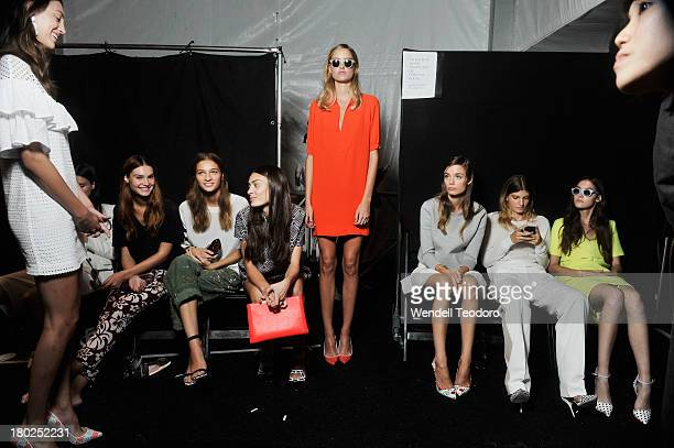 Models prepare backstage before the JCrew presentation during Spring 2014 MercedesBenz Fashion Week at The Studio at Lincoln Center on September 10...