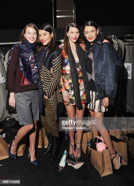 Models prepare backstage before the J.Crew presentation during Mercedes-Benz Fashion Week Fall 2014 at The Pavilion at Lincoln Center on February 11,...