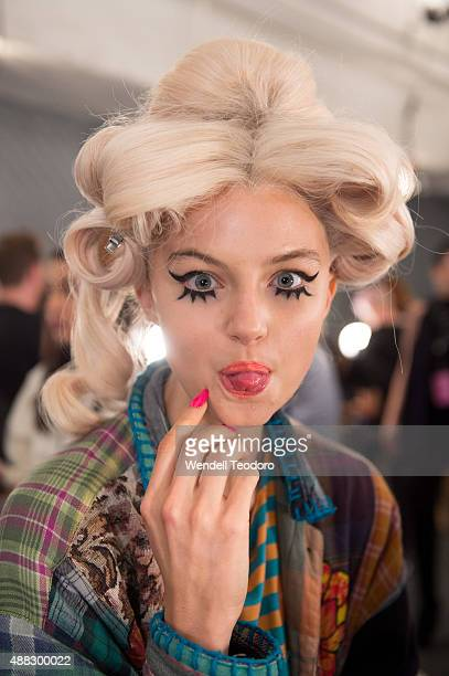 Models prepare backstage before the Jeremy Scott show at The Arc, Skylight at Moynihan Station as part of 'NYFW The Shows' Spring 2016 New York...