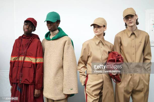 Models prepare backstage before the Lacoste show as part of the Paris Fashion Week Womenswear Fall/Winter 2019/2020 on March 05, 2019 in Paris,...