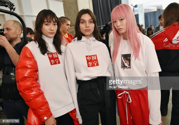 Models prepare backstage before the LiNing Fall/Winter 2018 Collection Fashion Show during 2018 New York Fashion Week at Skylight Modern on February...