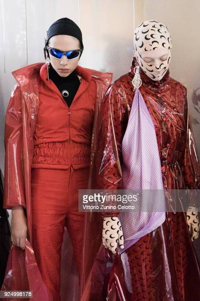 Models prepare backstage before the Marine Serre show as part of the Paris Fashion Week Womenswear Fall/Winter 2018/2019 on February 27 2018 in Paris...
