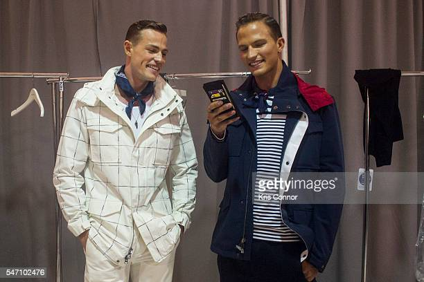 Models prepare backstage before the Nautica Presentation at Skylight Clarkson Sq on July 13, 2016 in New York City.