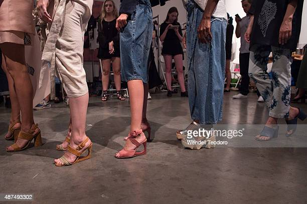 Models prepare backstage before the Rachel Comey show at Pioneer Works on September 9 2015 in the Brooklyn borough of New York City