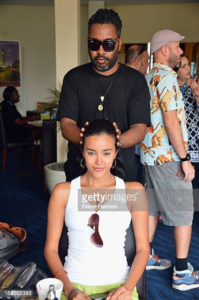 Models prepare backstage during Aruba In Style 2012 Wedding Champagne Brunch with Samuel Cirnansck at Windows on Aruba at Divi Links Golf Beach...