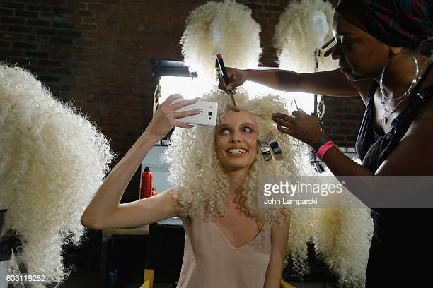 Models prepare backstage during The Blonds on September 2016 MADE Fashion Week at Milk Studios on September 11 2016 in New York City