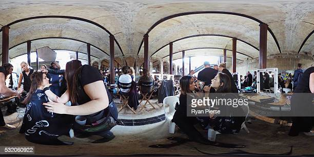 Models prepare backstage during the KITX show during MercedesBenz Fashion Week Australia at Paddington Reservoir on May 18 2016 in Sydney New South...