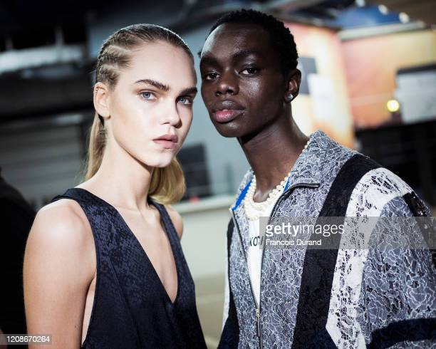 Models prepare backstage during the Koche show as part of the Paris Fashion Week Womenswear Fall/Winter 2020/2021 on February 25, 2020 in Paris,...