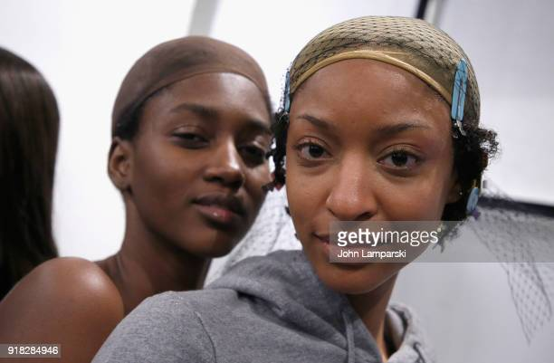 Models prepare backstage during the Leanne Marshall show during February 2018 New York Fashion Week The Shows at Gallery II at Spring Studios on...