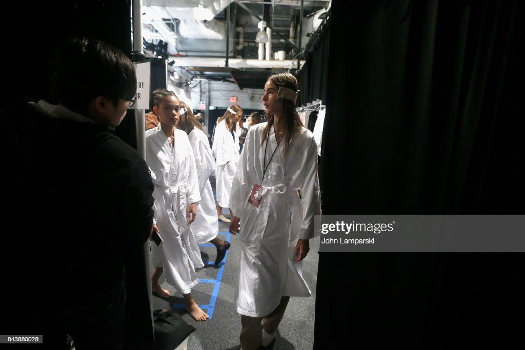 Models prepare backstage during the Noon By Noor September 2017, New York Fashion Week: The Shows at Gallery 3, Skylight Clarkson Sq on September 7, 2017 in New York City.
