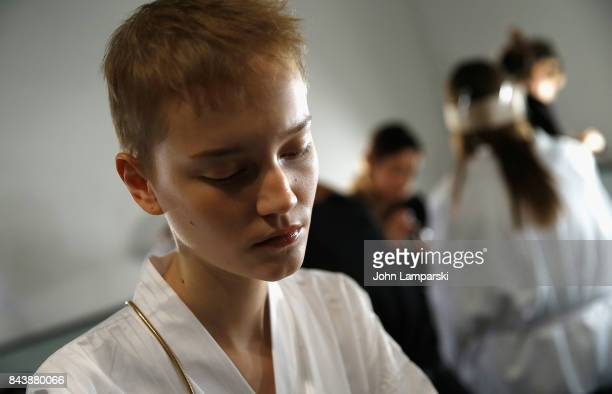 Models prepare backstage during the Noon By Noor September 2017 New York Fashion Week The Shows at Gallery 3 Skylight Clarkson Sq on September 7 2017...