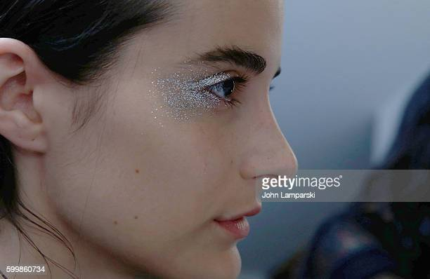 Models prepare backstage during the Rachel Comey presentation during New York Fashion Week on September 7 2016 in New York City