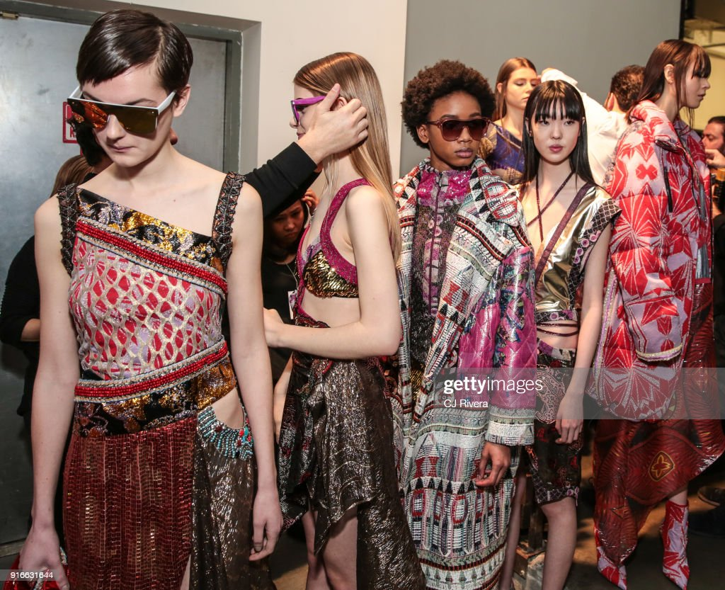 Models Prepare Backstage For Custo Barcelona During New York Fashion Week At Pier  On February