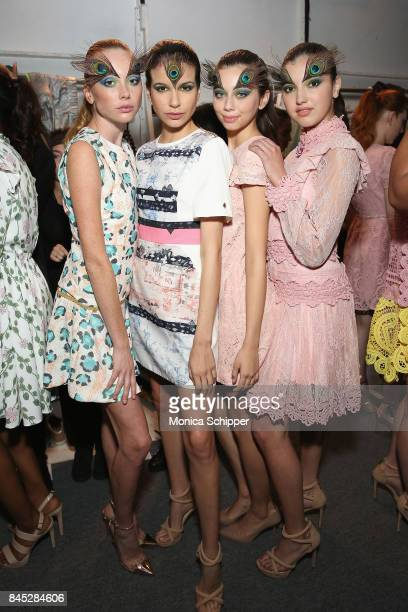 Models prepare backstage for Dan Liu fashion show during New York Fashion Week The Shows at Gallery 3 Skylight Clarkson Sq on September 10 2017 in...