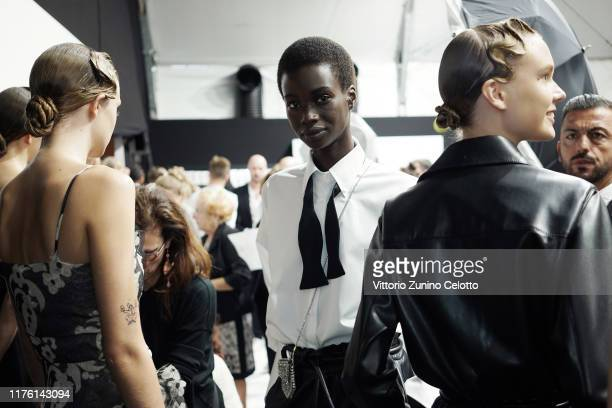 Models prepare backstage for Ermanno Scervino fashion show during the Milan Fashion Week Spring/Summer 2020 on September 21 2019 in Milan Italy