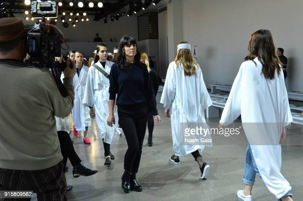 Models prepare backstage for Noon By Noor during New York Fashion Week The Shows at Gallery II at Spring Studios on February 8 2018 in New York City