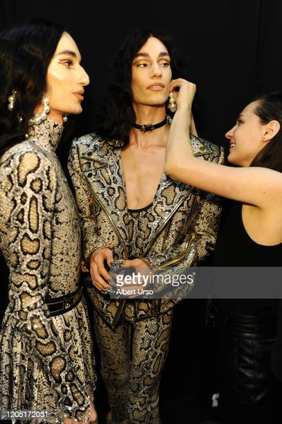 Models prepare backstage for The Blonds during New York Fashion Week: The Shows at Gallery I at Spring Studios on February 09, 2020 in New York City.