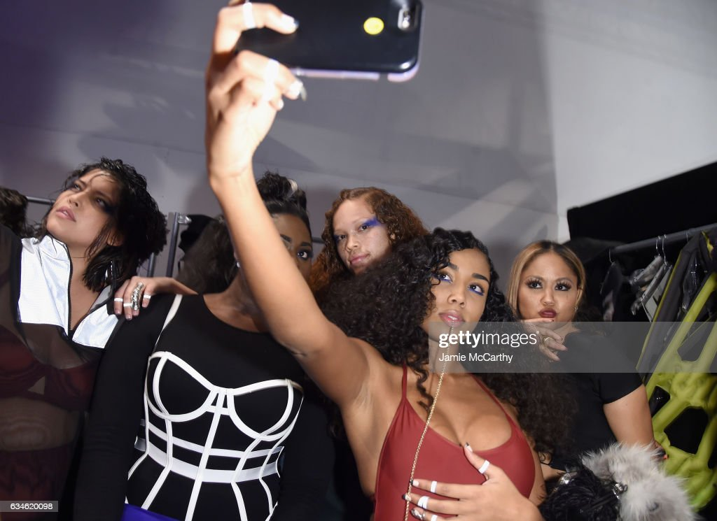 Models prepare backstage for the Chromat collection during, New York Fashion Week: The Shows at Gallery 3, Skylight Clarkson Sq on February 10, 2017 in New York City.