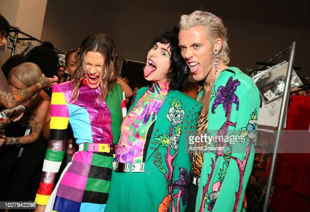 Models prepare backstage for the Discount Universe show during New York Fashion Week The Shows at Gallery II at Spring Studios on September 6 2018 in...