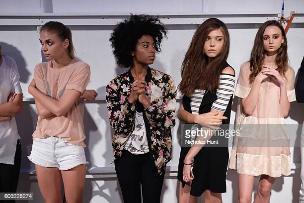 Models prepare backstage for the Leanne Marshall fashion show during New York Fashion Week September 2016 at The Gallery Skylight at Clarkson Sq on...