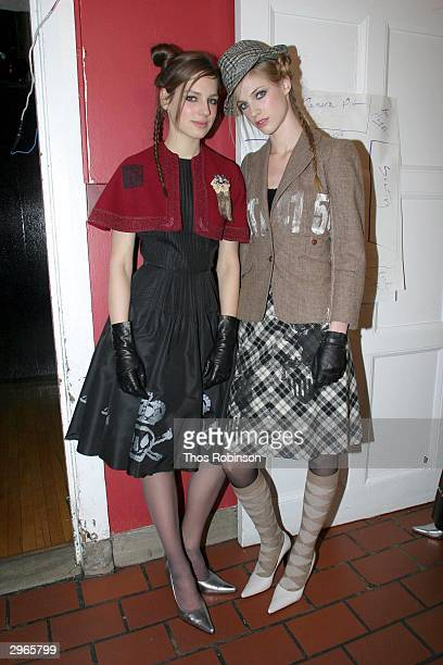 Models prepare backstage for the Libertine fashion show at St Barts Park Ave during the Olympus Fall Fashion Week February 10 2004 in New York City
