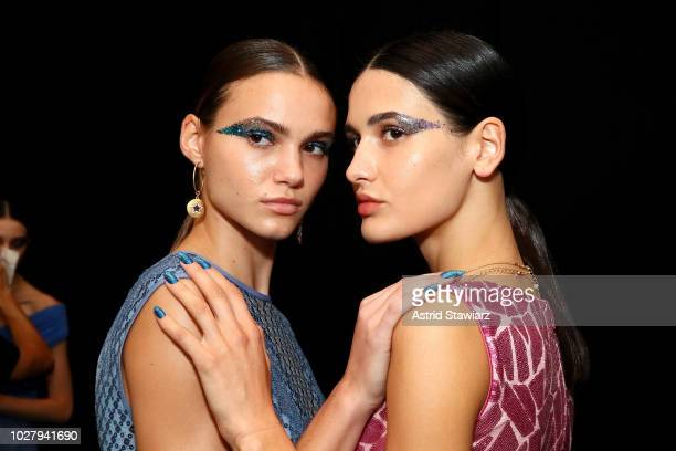 Models prepare backstage for the Tadashi Shoji show during New York Fashion Week The Shows at Gallery I at Spring Studios on September 6 2018 in New...