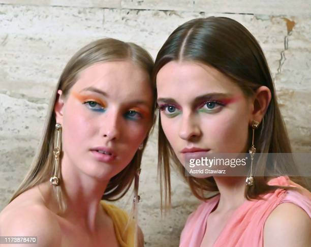 Models prepare backstage for TRESemme at Oscar de la Renta during NYFW on September 10, 2019 in New York City.
