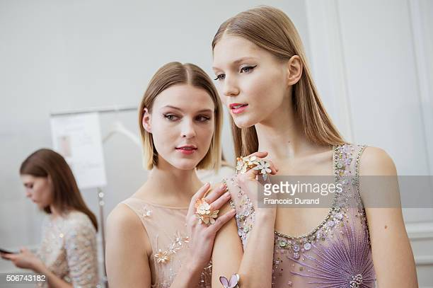 Models prepare backstage prior the Georges Hobeika Haute Couture show Spring/Summer 2016 Fashion Show as part of Paris Fashion Week at Monnaie de...