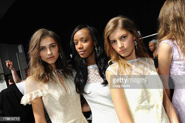 Models prepare backstage with Rodney Cutler Redken Expert and Celebrity Runway Stylist For THE SALON At ULTA at The Tadashi Shoji Spring 2014 Show on...