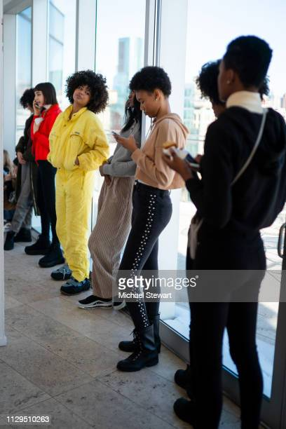 Models prepare before the Aliette Presentation during New York Fashion Week The Shows at The Standard East Village on February 13 2019 in New York...