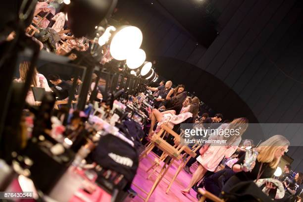 Models prepare in the Hair and Makeup room during 2017 Victoria's Secret Fashion Show In Shanghai at MercedesBenz Arena on November 20 2017 in...