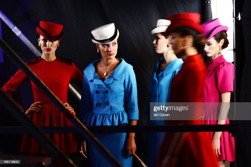 Models prepare to walk the runway at the Mari Axel show during Mercedes-Benz Fashion Week Russia Fall/Winter 2013/2014 at Manege on March 31, 2013 in Moscow, Russia.
