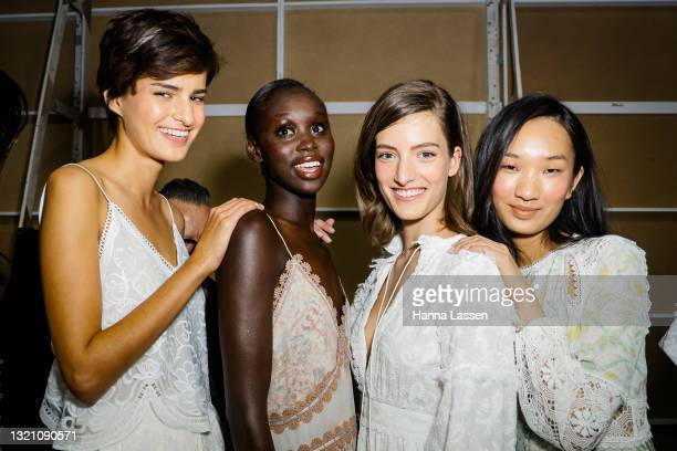 Models prepares backstage ahead of the IXIAH show during Afterpay Australian Fashion Week 2021 Resort '22 Collections at Carriageworks on June 01,...