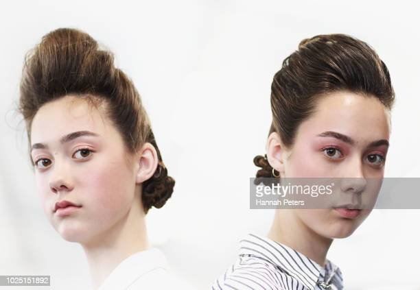 Models prepares backstage ahead of the Miromoda Showcase show during New Zealand Fashion Week 2018 at Viaduct Events Centre on August 30 2018 in...