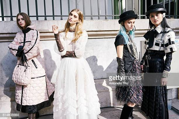 Models prepares backstage before the Chanel show as part of the Paris Fashion Week Womenswear Fall/Winter 2016/2017 on March 8 2016 in Paris France