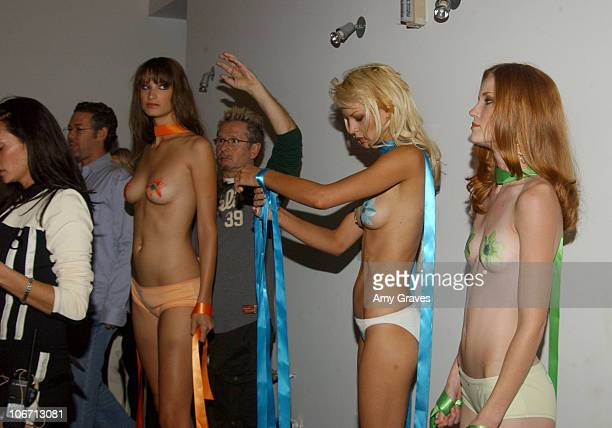 Models prepping for show during 2003 Smashbox Fashion Week Los Angeles H Starlet Spring Collection 2004 Backstage at Smashbox in Culver City...