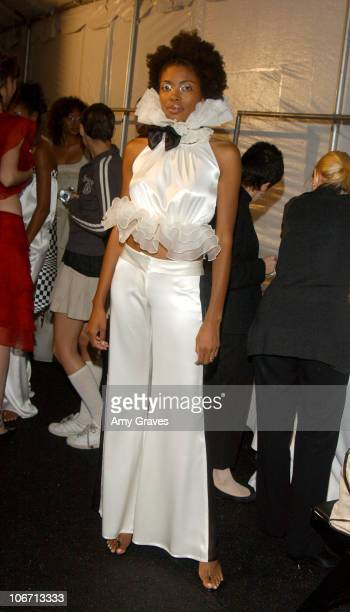 Models prepping for show during 2003 Smashbox Fashion Week Los Angeles Susana Mercedes Spring Collection 2004 Backstage at Smashbox in Culver City...